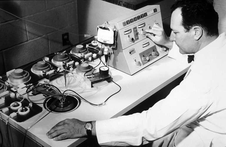 Emil Freireich, M.D., working with a blood cell separator centrifuge at M.D. Anderson Hospital. Freireich was a pioneer in the use of combination chemotherapy in the treatment of cancer. Source: G. Terry Sharrer, Ph.d. National Museum Of American History.
