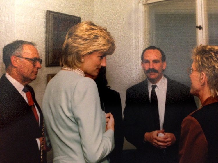 Princess Diana visiting the Robert H. Lurie Cancer Center at Northwestern University in June 1996, pictured here with then-Director Steven Rosen.