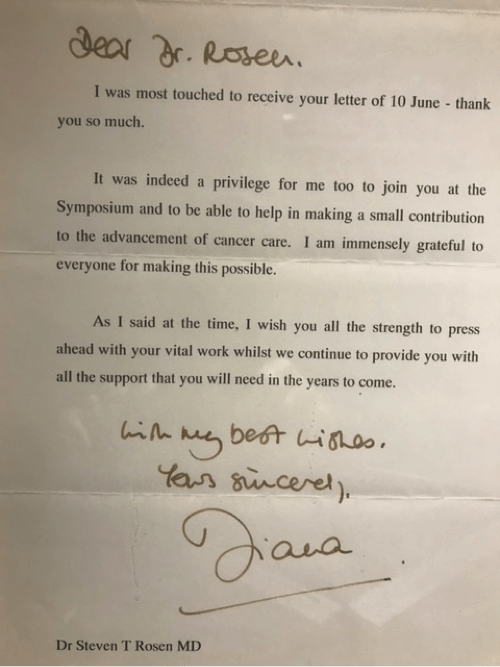 A letter from Princess Diana to Steven Rosen.