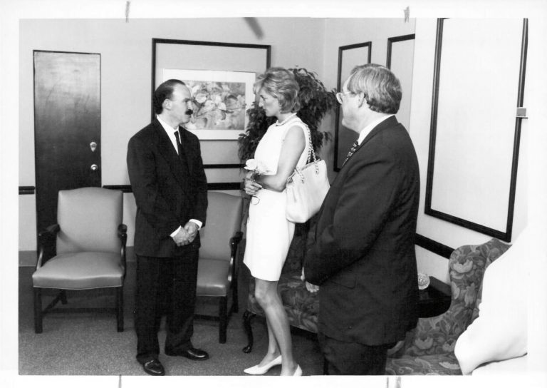 Princess Diana and Steven Rosen visit the cancer center. At a gala in her honor, Rosen was not eligible to dance with her because of their height discrepancy.