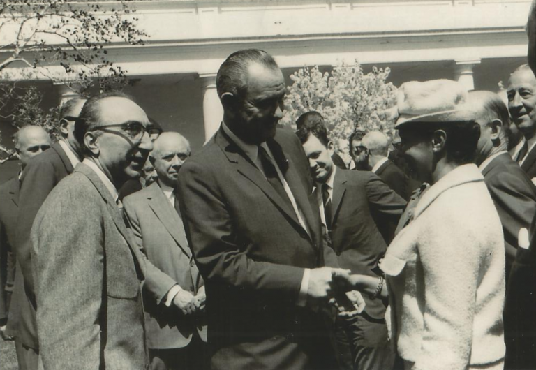 Dr. Jane Wright with Pres. Lyndon Johnson and Dr. Michael DeBakey (left).