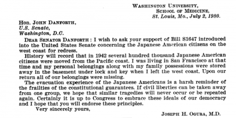 Letter from Ogura to Sen. Danforth on the subject of Japanese Internment