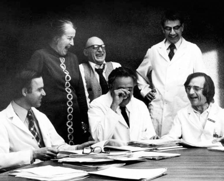 Helen Coley Nauts with the newly formed CRI Scientific Advisory Council, headed by Dr. Lloyd J. Old, in the 1970s