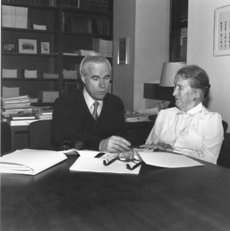 """Lloyd J. Old, M.D., with CRI founder Helen Coley Nauts. Old is considered the """"Father of Modern Tumor Immunology."""""""