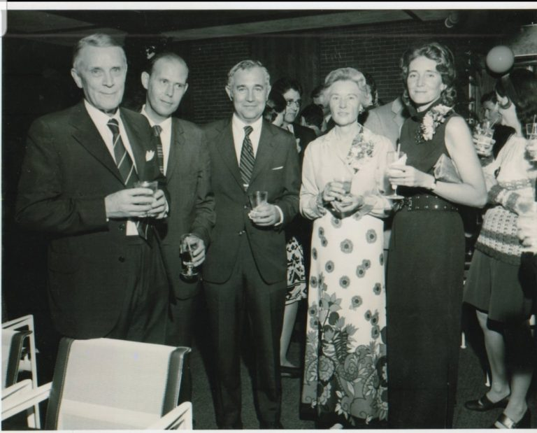 Paul Calabresi (middle) with Paul Bruce Beeson (far left), and Celia Calabresi (far right). Dr. Beeson was editor for Harrison's Principles of Internal Medicine from 1950-1954 and co-editor of Cecil-Loeb Textbook of Medicine from 1959-1982. Dr. Paul Beeson (along with hematologist Dr. William B. Castle, not in the photo) mentored Dr. Calabresi.