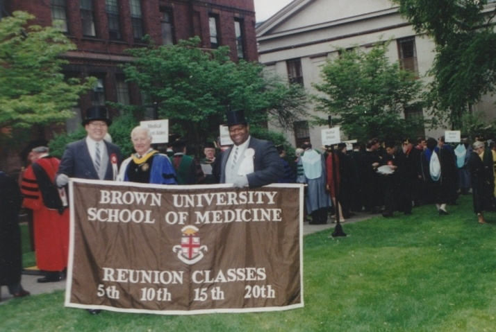 Paul Calabresi (center) with Ed Chu (far left) and Galen Henderson (right) at a Brown Medical School Graduation. Dr. Chu is the Director of the NCI-designated Albert Einstein Cancer Center and Dr. Henderson is a neurologist and is director of the division of neuro-critical care at the Brigham and Women's Hospital in Boston and a member of the Brown Corporation.