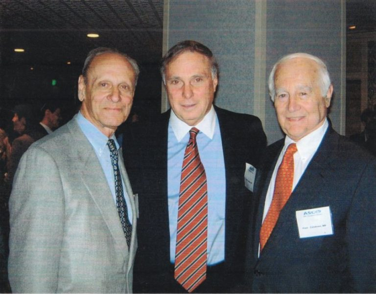 Saul Rosenberg (left), Phil Schein (middle) and Paul Calabresi (right), editors of  Medical oncology: basic principles and clinical management of cancer