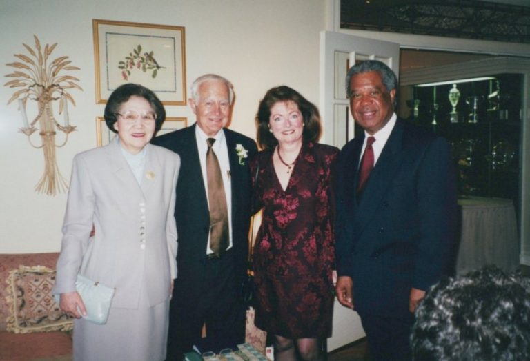 Ming-Yu Chu (far left), Paul Calabresi (2nd from left), Maureen McDonald (2nd from right) and Charles McDonald (right) who was the Founding Chair of the Department of Dermatology at Brown University's Warren Alpert Medical School. Dr. McDonald was also an Oncologist, Past President of the American Cancer Society, Past President of the American Dermatological Association, and Trustee at Howard University.