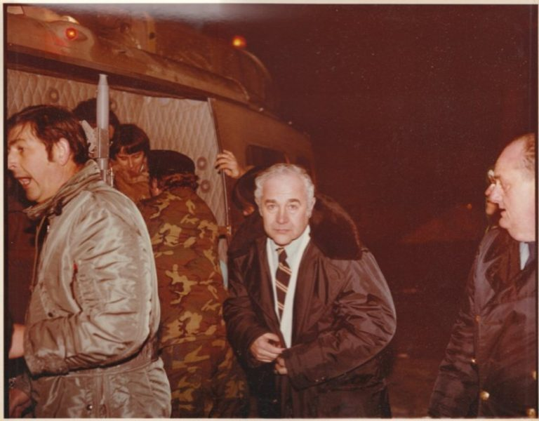 Paul Calabresi during the 1978 blizzard treating and assisting patients off a helicopter during that storm