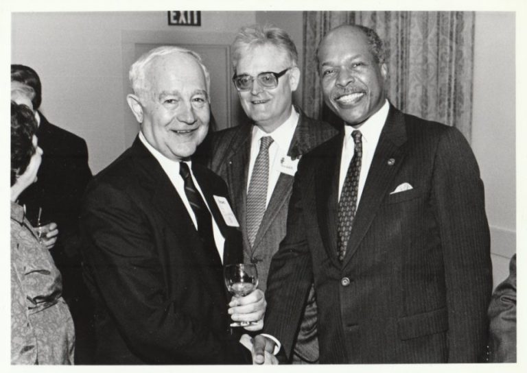 Paul Calabresi (left), Pierre Galleti (middle) and HHS secretary Louis Sullivan (right). Dr. Galletti was vice president and chief executive officer for the Division of Biology and Medicine at Brown in the early 1970's and was a leader in the field of artificial organs.